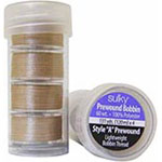 "Offering convenience and quality, these 60 wt, continuous filament, polyester, plastic-sided bobbins are virtually lint free and are the perfect weight for most sewing, quilting, or embroidery projects. Prewound ""A"" style 120m bobbins. 5 bobbins in a clear plastic tube."