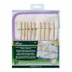 "Includes 9 hooks, 5 stoppers and 5 cords. Light in weight with a warm, natural touch, bamboo is the ideal material for crochet hooks. The seamless joint between parts is smooth and even, making for easy and effortless crochet. Hook sizes: 3.5, 3.75, 4.0, 4.5, 5.0, 5.5, 6.0, 6.5 and 8.0mm. Cord sizes: 16"", 24"", 29"", 36"" and 48""."