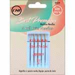 The Ballpoint needle has a rounded, semi-spherical ball point whose diameter is approximately 20% of the blade's diameter. These needles are designed to alleviate making holes in knit or loosely woven materials. The rounded tip slips between yarns rather than piercing them. 5 pcs