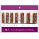 "These vibrant rainbow coloured double point needles are made of a strong, polished, smooth laminated birch wood. Yarn slides freely along the needle without catching, but has enough grip to easily manage slippery yarns. This 10cm (4"") set includes 6 needles of each of the following sizes; 2.0mm/US 0, 2.25mm/US 1, 2.5mm/US 1, 2.75mm/US 2, 3.0mm/US 2, 3.25mm/US 3, 3.5mm/US 4."