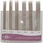 "The needles in this double point nickel plated needle set are smooth and extremely lightweight and feature sharp, precise tips that gradually taper for preceision and control, giving a sharp enough point for intricate lace knitting. This 15cm (6"") set includes 5 needles each of the following sizes; 2.0mm/US 0, 2.25mm/US 1, 2.5mm/US 1, 2.75mm/US 2, 3.0mm/US 2, 3.25mm/US 2. Total of 30 pcs."