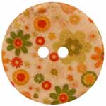 The Inspire<sup>TM</sup> line of buttons will spark creativity whether used for yarn creations, fabric arts, or uniquely crafted soft furnishings. Green, orange, and red multicolored wood button. 20mm. 2 holes.