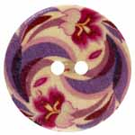 The Inspire<sup>TM</sup> line of buttons will spark creativity whether used for yarn creations, fabric arts, or uniquely crafted soft furnishings. Purple, pink, and red multicolored wood button. 20mm. 2 holes.