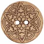 The Inspire<sup>TM</sup> line of buttons will spark creativity whether used for yarn creations, fabric arts, or uniquely crafted soft furnishings. Light flower coconut button. 51mm. 2 holes.