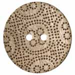 The Inspire<sup>TM</sup> line of buttons will spark creativity whether used for yarn creations, fabric arts, or uniquely crafted soft furnishings. Light spotted coconut button. 38mm. 2 holes.