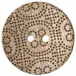 The Inspire<sup>TM</sup> line of buttons will spark creativity whether used for yarn creations, fabric arts, or uniquely crafted soft furnishings. Light spotted coconut button. 51mm. 2 holes.