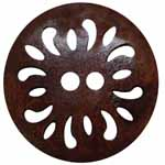 The Inspire<sup>TM</sup> line of buttons will spark creativity whether used for yarn creations, fabric arts, or uniquely crafted soft furnishings. Dark brown coconut button. 25mm. 2 holes.