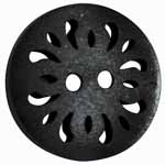 The Inspire<sup>TM</sup> line of buttons will spark creativity whether used for yarn creations, fabric arts, or uniquely crafted soft furnishings. Black coconut button. 20mm. 2 holes.