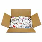 Box of 1,000 cards of assorted buttons.  Perfect for kids crafts, schools and camps or projects where a large quantity of buttons in a huge assortment of shapes, sizes and colours works great! Tops of cards are cut off. 1,000 cards which can be resold as is or bundled together. Great door crasher.