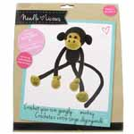 Crochet your own gangly monkey! A complete crochet kit including step-by-step instructions. Included: acrylic yarn, felt, safety eyes, fiberfill, 3mm crochet hook, darning needle and instruction sheet. Makes 1.