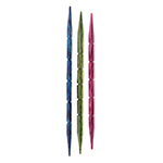 Wooden cord needle with grooves that prevent stitches from slipping off when cording. Smooth tapered tips slips on stitches easily and holds them in place while cording. Lightweight, yet exceptionally strong & durable in attractive colours. Pack contains 3 sizes: 3.25mm (US 3), 4.0mm (US 6) and 5.5mm (US 9).