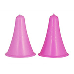 Pliable point protectors for the ends of knitting needles. Helps prevent stitches from falling and will stay on, even in your bag. Cone shaped and easy to spot bright colours. Two large (pink) size pieces.