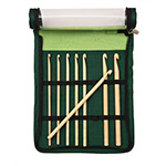 Made from finest quality Japanese bamboo with perfectly smooth finish. Thoughtfully selected sizes of most frequently used hooks. Two options of single ended and Tunisian hooks. Packed in elegant green fabric case with clear vinyl front flaps for convenient storage. Includes; US E (3.5mm), US F (3.75mm), US G (4.0mm), US H (5.0mm), US I (5.5mm), US J (6.0mm), US K (6.5mm), US L (8.0mm) in a green fabric case.