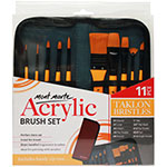 This 11 piece Taklon brush set is a great starter set and is presented in a sturdy and attractive travel zip case/wallet which is not only handy, but can extend the life of the brushes. For use with acrylic paints, these brushes feature yellow thick, easy to grip wooden handles and black ferrules. The brushes included in this set are; Angle Shader<sup>1</sup>⁄<sub>4</sub>, Fan 2/0, Flat Shader 12, Flat Wash<sup>3</sup>⁄<sub>4</sub>, Flat 1″, Round 6, Flat Shader 6, Filbert 4, Liner 1 and Round 1.