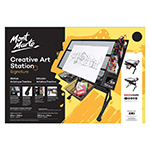 Transform your creative workspace with the professional grade Mont Marte Signature Creative Art Station. This art desk is offers a sturdy steel frame and drawers with a tempered glass easel and tilt range of 60 degrees. The steel frame is painted in a professional black coated finish.  Ergonomically designed for comfort, it is also adjustable to a standing or sitting position.  The desk is versatile and suitable for a range of creative disiplines such as art and craft projects to large scale jobs such as mapping, drafting and architectural work. The workspace provides a built in studio tidy perfect for pens, paints, brushes and other design accessories. This stylish, multi-use art station is practical and built to last. The creative area is 102.5 cm x 60 cm and the art station height is 137.5 cm.  The maximum tilt angle is 60 degrees. Assembly instructions are included, accessories are not included.  Warning:  This item is heavy.