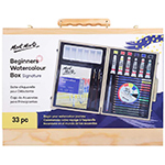 Get started with watercolours!  The Mont Marte Signature Beginners Watercolour Set comes complete with 12 watercolour pencils, 6 watercolour tubes (12 ml ea), 6 watercolour pans, 3 water soluble graphite pencils (light, medium, dark), 2 paint brushes, A5 paper pad, 1 palette, 1 colour dial and stylish wooden gift box with latch closures.