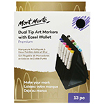 The Mont Marte Premium Dual Tip Art Markers comes with 12 professional markers bundled up in a convenient easel wallet. Alcohol based inks, these professional grade markers offer a dual tip (fine and broad) suitable for designers, illustrators and fine artists.