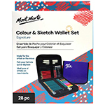 This Sketching set includes zippered wallet, 12 colour pencils, 6 premium graphite pencils, 3 charcoal pencils (soft, medium, hard), sharpener, 2 stumps (10mm, 6mm), tortillon (10mm), eraser and kneadable eraser.