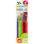 6 assorted sizes of these paint brushes offers a variety of options for young painters. The brushes feature plastic handles with a unique tri-grip shape which makes gripping easier for little hands. Make of taklon bristles and the round brushes include a plastic protector for when not in use.  Ages 3+