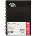 Do not let the creativity go away using this 120 page visual diary features 110gsm paper. The warm white colour allow you colouring your sketch. The black PP cover and heavy weight backing board with double spiral bound give you the confident that the pages with your ideas will not go away. Signature Visual Art Diary is manufactured from 100% wood pulp and is available in A3, A4 and A5 also in black paper.