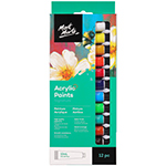 The 12 piece Mont Marte Acrylic Paint Set allows you to create a wide range of textures and painting styles. Acrylic is a versatile paint that can be mixed with mediums to create glazes or with water to create watercolour effects. These paints are heavy bodied which also makes them great for textured effects, brush marks and palette knife impressions. The Mont Marte Acrylic Paint Set is suitable for artists and students looking for a convenient set for the studio, classroom or outdoor settings. Conveniently packed in 12ml paint tubes, these paints are easy to transport and store. Each tube in this set contains high-quality pigments with a smooth consistency and high gloss finish. This 12 pieces of acrylic paint set to feature a combination of warm and cool colours, including primary colours for easy mixing. The paint offers great covering power and lightfastness to ensure our artworks stay brighter for longer. Providing a beautiful range of colour, this acrylic paint set is suitable for beginner through to professional artists. 12 x 12ml paint tubes (Lemon Yellow, Yellow Ochre, Vermilion, Crimson, Light Green, Viridian, Cerulean Blue, Phthalo Blue, Burnt Sienna, Burnt Umber, Lamp Black, Titanium White).