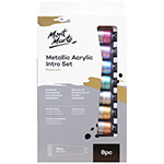 Mont Marte metallic acrylic paints are a great choice for adding shimmer and shine to your art and craft projects. This set of 8 beautiful colours features a luxurious metallic sheen and is suitable for a range of surfaces such as canvas, card and wood. You'll love the smooth consistency and eye-catching finish of these metallic acrylic paints. They also offer good coverage and dry quickly, making them suitable for use at home or in the classroom. Make your projects stand out with our 8 pieces Metallic Acrylic Paint set. 8 metallic colours in 18ml tubes (gold, silver, bronze, copper, magenta, purple, phthalo blue, phthalo green) with a luxurious metallic sheen.