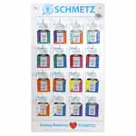Includes Universal, Jean, Topstitch, Quilting, Embroidery, Microtex, Jersey and Stretch machine needles. Also includes 25 Schmetz Needle Guides and a 16 peg wall display board with needle info in French and English.