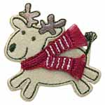 Reindeer with red scarf motif. Elan iron-on motifs are an easy creative way to add pizzazz to your garments, breathe new life into old garments or a fun repair solution to patch up rips and tears on children's clothes.
