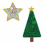 Green Christmas tree with gold star motif. Elan iron-on motifs are an easy creative way to add pizzazz to your garments, breathe new life into old garments or a fun repair solution to patch up rips and tears on children's clothes.