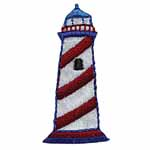 Red and white lighthouse motif.Elan iron-on motifs are an easy creative way to add pizzazz to your garments, breathe new life into old garments or a fun repair solution to patch up rips and tears on children's clothes.