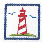 Red and white lighthouse on white patch motif. Elan iron-on motifs are an easy creative way to add pizzazz to your garments, breathe new life into old garments or a fun repair solution to patch up rips and tears on children's clothes.